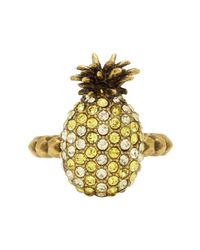 Gucci - Yellow Small Crystal Pineapple Ring - Lyst