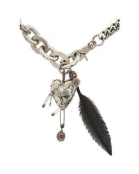 Alexander McQueen - Metallic Silver Heart & Feather Chain Choker for Men - Lyst