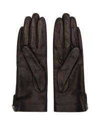 Prada - Black Leather Label Gloves - Lyst