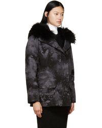 Army by Yves Salomon - Black & Grey Tie-dye Fur-lined Parka - Lyst