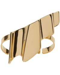 Saint Laurent | Metallic Gold Babylone Two-finger Ring | Lyst