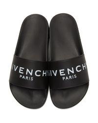 Givenchy - Black Logo-print Rubber Slides - Lyst