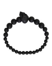 Alexander McQueen - Black Beaded Skull Bracelet - Lyst