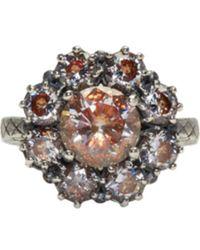 Bottega Veneta - Metallic Silver Flowers Zircon Ring - Lyst