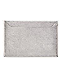 Prada - Metallic Silver Saffiano Single Card Holder - Lyst
