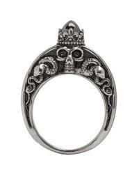 Alexander McQueen - Metallic Silver Skull Engraved Ring for Men - Lyst