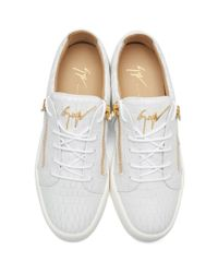 Giuseppe Zanotti - White Croc-embossed London Sneakers for Men - Lyst