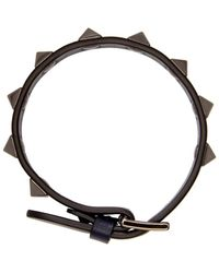 Valentino - Blue Navy Leather Rockstud Bracelet - Lyst