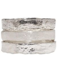 Pearls Before Swine - Metallic Set Of Three Silver Forged Band Rings - Lyst