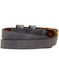 Alexander McQueen - Blue & Gold Snakeskin Double Wrap Skull Bracelet - Lyst