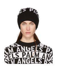Palm Angels - Black And White Logo Beanie - Lyst