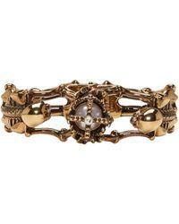 Alexander McQueen | Metallic Gold Two Skeletons Bracelet | Lyst