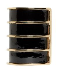 Balmain - Black Leather Gold Stacked Cuff - Lyst