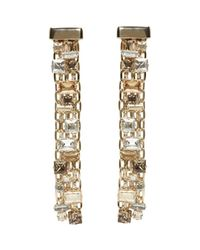 Lanvin - Metallic Gold & Crystal Skinny Clip-on Earrings - Lyst