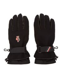 Moncler Grenoble - Black Canvas And Lambskin Gloves for Men - Lyst