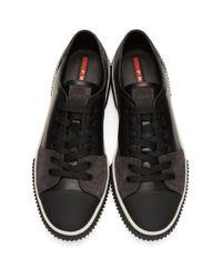 Prada - Black Leather & Suede Sneakers - Lyst