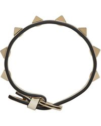 Valentino - White Ivory Leather Single Rockstud Bracelet - Lyst