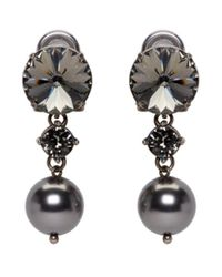 Miu Miu | Multicolor Gunmetal Pearl & Crystal Earrings | Lyst