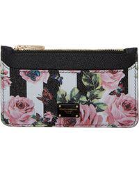 Dolce & Gabbana - Black Stripes And Floral Card Holder - Lyst