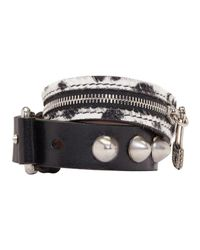 Alexander McQueen - White Black Leather Punk Cuff - Lyst