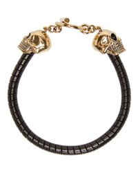 Alexander McQueen - Black Double Skull Bracelet for Men - Lyst