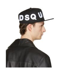 DSquared² - Black Embroidered Logo Cap for Men - Lyst
