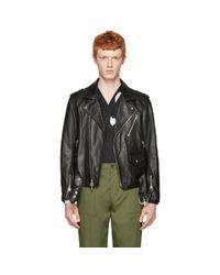 3.1 Phillip Lim - Black Leather Biker Jacket for Men - Lyst