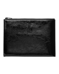 Saint Laurent - Black Patent Monogram Zipped Tablet Holder - Lyst