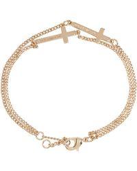DSquared² - Metallic Gold Double Cross Bracelet - Lyst