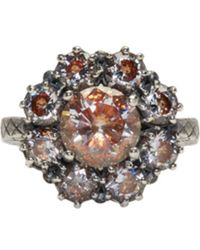 Bottega Veneta   Metallic Silver Flowers Zircon Ring   Lyst