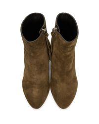 Saint Laurent Brown Suede Loulou Boots