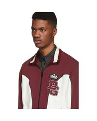 Dolce & Gabbana White And Burgundy Logo Track Jacket for men