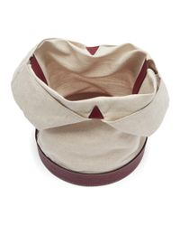 Carven - Natural Beige And Burgundy Linen Canvas Tote - Lyst