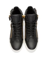 Giuseppe Zanotti - Black Leather Leaf High-top London Sneakers for Men - Lyst