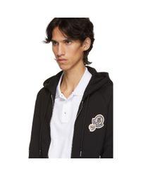 Moncler Black Maglia Logo Zip-up Hoodie for men