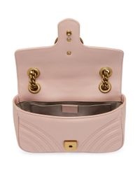 Gucci - Pink Gg Marmont Small Leather Shoulder Bag - Lyst