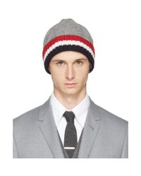 Thom Browne - Gray Grey & Tricolor Merino Aran Cable Beanie for Men - Lyst
