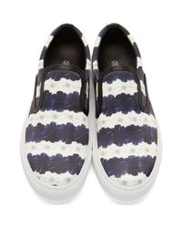 Mother Of Pearl - Blue White & Navy Floral Stripe Achilles Slip-on Sneakers - Lyst