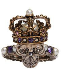 Alexander McQueen - Metallic Silver King Skull Ring - Lyst