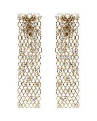Lanvin - Metallic Gold-tone Crystal Clip Earrings - Lyst