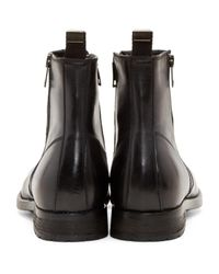 DIESEL | Black Leather D-anklyx Boots for Men | Lyst