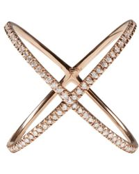 Eva Fehren - Pink Rose Gold Diamond X Ring - Lyst
