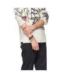 Alexander McQueen - Brown Studded Skull Charm Double Wrap Bracelet for Men - Lyst