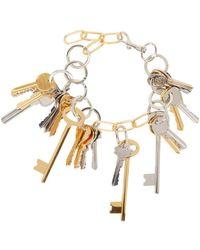 Balenciaga | Metallic Gold And Silver Multi-key Necklace | Lyst