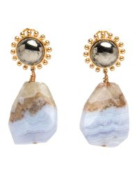 Nest | Blue Lace Agate And Pyrite Drop Earrings | Lyst