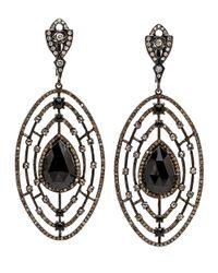 Loree Rodkin | Diamond And Black Oval Spinel Earrings | Lyst