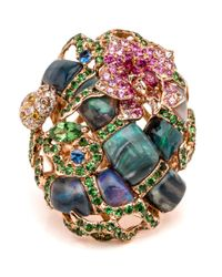 Wendy Yue | Multicolor Opal And Sapphire Criss Cross Ring | Lyst