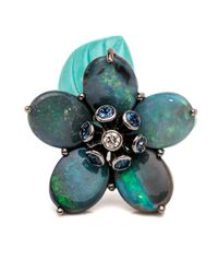 Wendy Yue | Blue Turquoise And Opal Flower Ring | Lyst