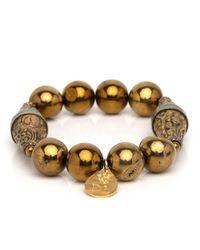 Devon Leigh - Metallic Pyrite Beaded Bracelet With Flourished Bicones - Lyst