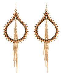 Devon Leigh | Orange Beaded Teardrop Fringe Earrings | Lyst